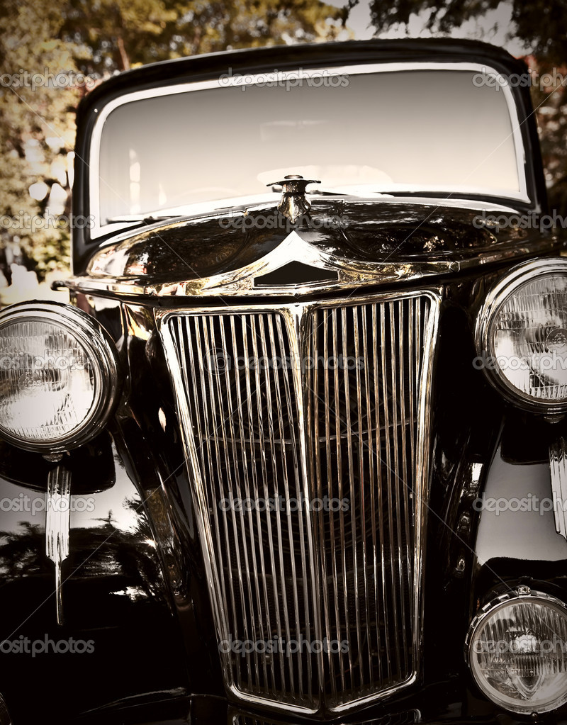 Close up shot of a vintage car  Stock Photo #9317200