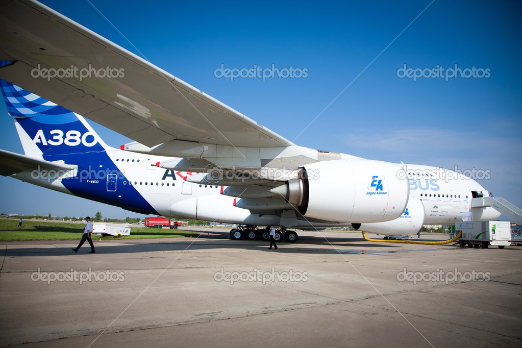 MOSCOW, RUSSIA, AUGUST,18: AIRBUS A380 at the International Aviation and Space salon MAKS. August,18, 2011 at Zhukovsky, Russia  Stock Photo #9319253