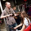 Foto de Stock  : Stylist work on womhair