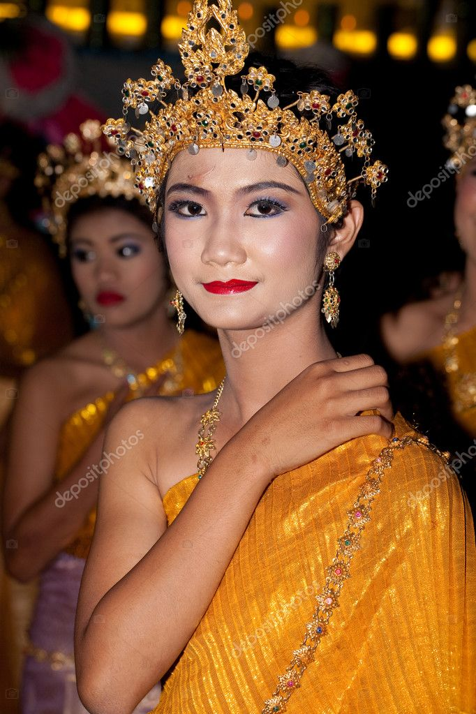 HUA HIN, THAILAND - NOVEMBER 21: Dancer in colorful costume. Thai float on water a small rafts (Krathong) to celebrate the Loy Krathong festival. November 21, 2010 in Hua Hin, Thailand.  Stock Photo #9320221