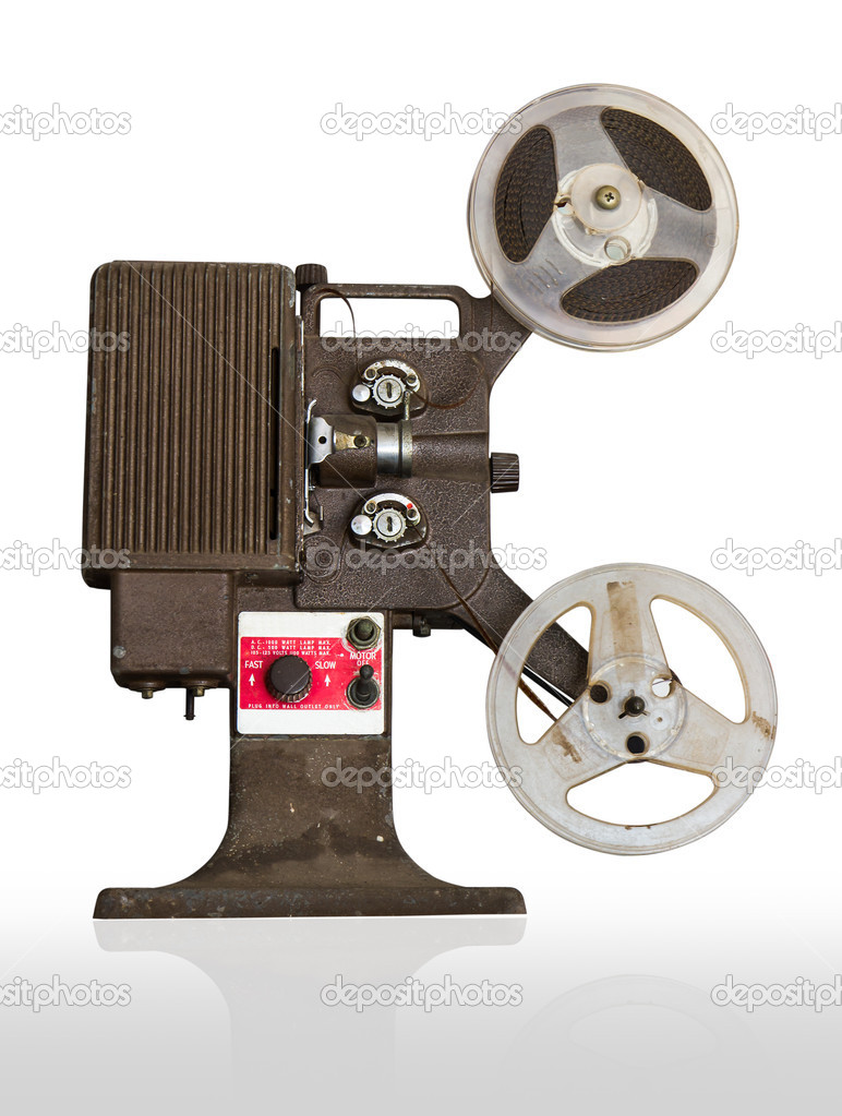 Analogue  movie projector with reels isolate on white background — Stock Photo #10640880