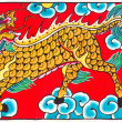 Traditional Thai style painting art Horse head Dragon — Stock Photo
