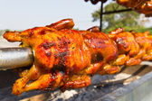 Chicken roasted on the spit — Stock Photo