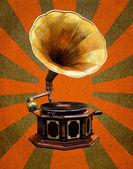 Rayons de soleil abstrait vintage gramophone — Photo