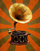 Vintage Gramophone abstract sun rays — Stock Photo