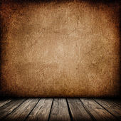 Grunge paper wall with wood floor interior background — Stock Photo