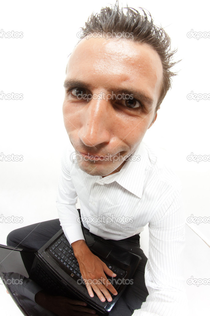 Funny face of a man with a computer  Stock Photo #8230149
