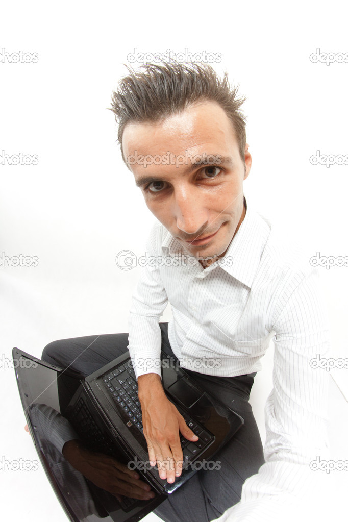 Funny face of a man with a computer — Stock Photo #8230226