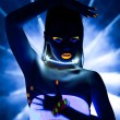 Disco girl with glow make-up dance in uv light — Stock Photo #10022963