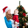 Christmas girl with baby santa claus portrait — Stock Photo #8057975