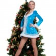 Young Snow Maiden stand with new year fir tree — Stock Photo #8062324