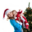 Snow maiden joy with baby santa claus portrait — Stock Photo