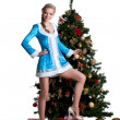 Stock Photo: Pretty christmas girl stand with new year fir tree