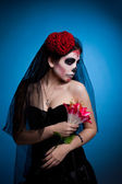 Woman in skull face art mask All Souls Day — Stock Photo
