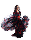 Woman dance in gypsy red and black costume — Stock Photo