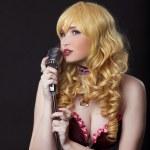 Beautiful singer cosplay anime character — Stock Photo
