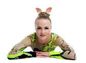 Mladý profesionální gymnastkou uvolnit portrét izolované — Stock fotografie