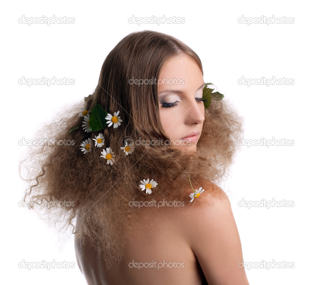 Naked girl with fashion hair