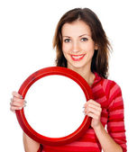 Pretty girl with a round frame — Stock Photo