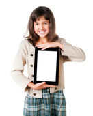The little girl with the tablet — Stockfoto