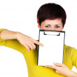 Girl with tablet for your text — Stock Photo #8938568