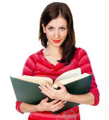 Beautiful girl student reading a book — Foto Stock