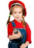 ドリルで建設ヘルメットの女の子 — ストック写真