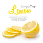 Lemon isolated on white with text — Stock Photo