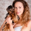 Royalty-Free Stock Photo: Woman with small cute york terrier dog