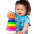 Little kid with  toy — Stock Photo