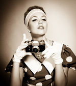 Lady with a camera — Stock Photo