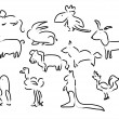 Sketches of animals vector — Stock Vector