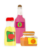 Set de bocaux avec les fruits et le vecteur de la confiture de baies — Vecteur