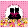 Cartoon cats in love. Cute romantic background — Stock Vector