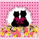 Cartoon cats in love. Cute romantic background — Stock Vector