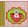 Valentine's Day card with little mouse vector — Stock Vector