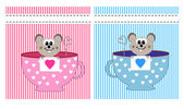 Valentine´s day card with funny cartoon mouse and heart — Stock Vector