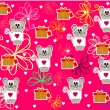 Seamless  with cute mouse for Valentine's Day vector - Image vectorielle