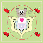 Valentine's Day card with little mouse — Stock Vector