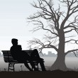 The young man and girl on bench - Stock Vector