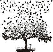 Corvi in un albero — Vettoriale Stock