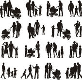 Set of family silhouetted (vectors) — Stock Vector