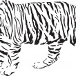 Stock Vector: Tiger - Black and white vector illustration