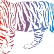 Tiger - vector abstract rainbow — Stock Vector