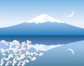 Vector Mount Fuji, moon and branches of sakura — Stock Vector