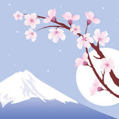 Vector Mount Fuji, moon and branches of sakura (cherry) — Stock Vector