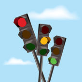 Vector traffic lights with red, yellow and green color — Stock Vector