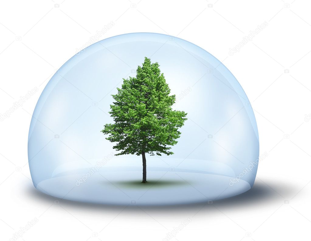 Green tree in glass cupola,  environmental concept — Stock Photo #10237640