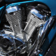 Chromed motorbike V2 engine - Stock Photo