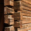 Stock Photo: Old wooden log house corner